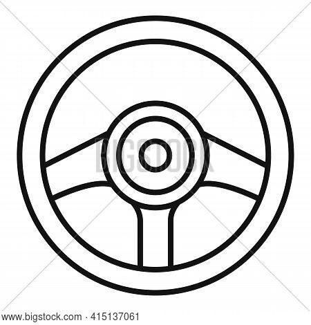 Garage Steering Wheel Icon. Outline Garage Steering Wheel Vector Icon For Web Design Isolated On Whi