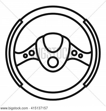 Steering Wheel Equipment Icon. Outline Steering Wheel Equipment Vector Icon For Web Design Isolated