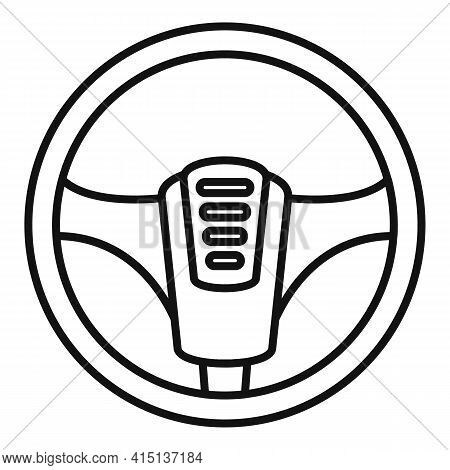 Steering Wheel Detail Icon. Outline Steering Wheel Detail Vector Icon For Web Design Isolated On Whi