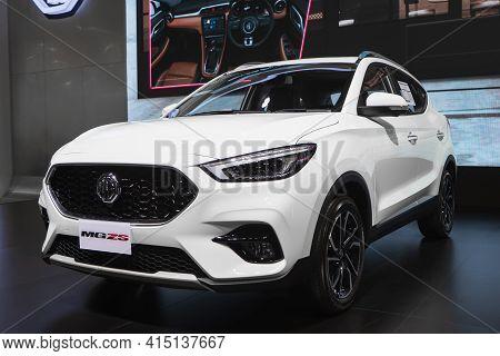 Bangkok, Thailand - 2021 April 01: New White Mg Zs Smart Suv Display At Motor Show, Bangkok, Thailan