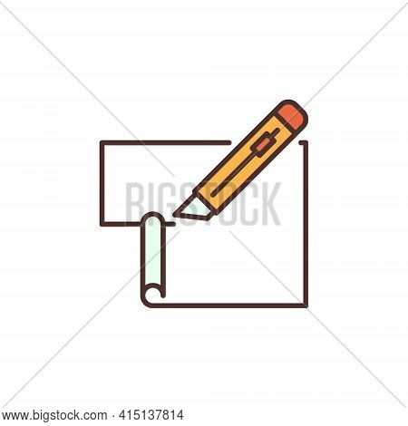 Stationery Knife Or Cutter Cuts Paper Vector Colored Icon
