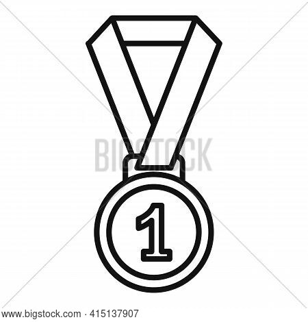 Arm Wrestling Medal Icon. Outline Arm Wrestling Medal Vector Icon For Web Design Isolated On White B