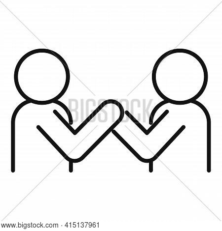 Arm Wrestling Fight Icon. Outline Arm Wrestling Fight Vector Icon For Web Design Isolated On White B