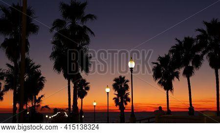 Oceanside, California Usa - 27 Dec 2020: Palms Silhouette Twilight Sky, Dusk Nightfall Atmosphere. P