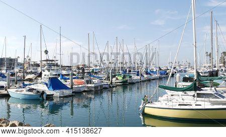 Oceanside, California Usa - 27 Jan 2020: Waterfront Harbor Fisherman Village, Luxury Yachts Sailboat