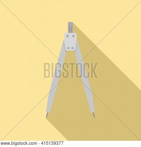 Carpenter Compass Icon. Flat Illustration Of Carpenter Compass Vector Icon For Web Design