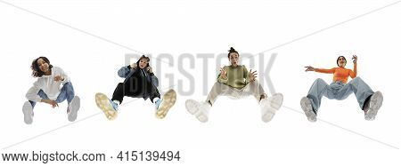 Young Stylish People In Modern Street Style Outfit Isolated On White Background, View From The Botto
