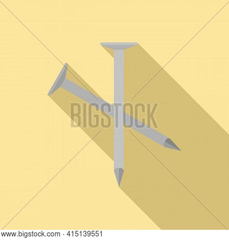 Carpenter Nails Icon. Flat Illustration Of Carpenter Nails Vector Icon For Web Design