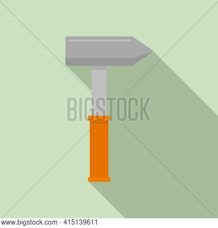 Carpenter Hammer Icon. Flat Illustration Of Carpenter Hammer Vector Icon For Web Design