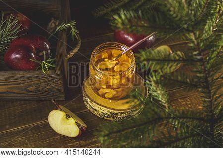 Apple Jam Or Marmalade In Jar On Dark Wooden Table Surface. Organic Healthy Vegetarian Food, Concept
