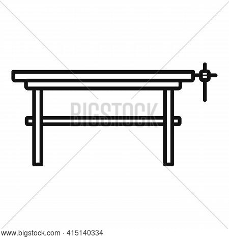 Carpenter Work Table Icon. Outline Carpenter Work Table Vector Icon For Web Design Isolated On White