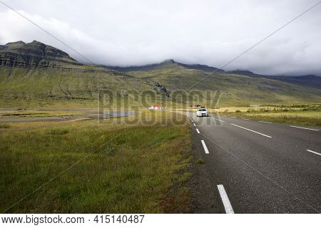 Iceland - August 29, 2017: A View Of The Ring Road The Main Road In Iceland, Iceland, Europe