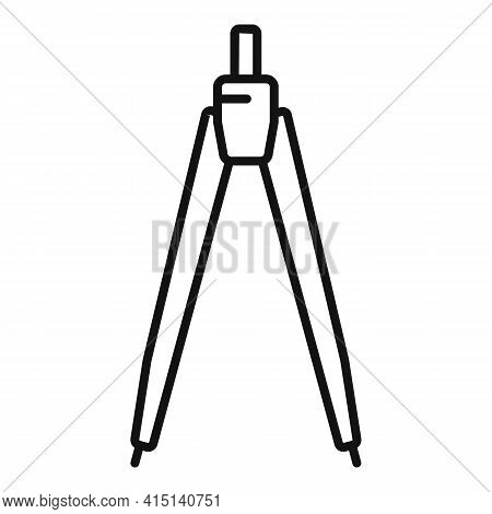 Carpenter Compass Icon. Outline Carpenter Compass Vector Icon For Web Design Isolated On White Backg