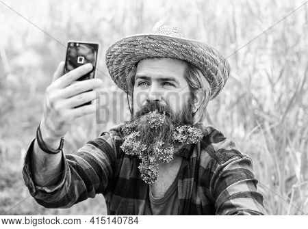 Video Call. Online Communication. Affordable High Quality Internet And Communication. Cowboy Hipster