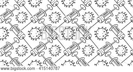 Vector Seamless Pattern On Theme Of Vaccination. Contour Molecules, Coronavirus Cells And A Vaccine