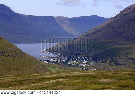 Seydisfjordur / Iceland - August 29, 2017: The Fjord Of Seydisfjordur Village, Iceland, Europe