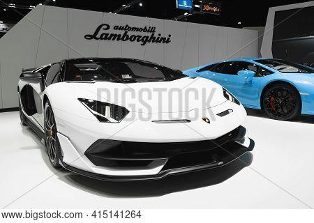 Bangkok, Thailand - 2021 April 01: Lamborghini Aventador Svj Roadster On Display At Motor Show, Bang