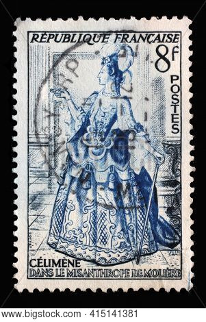 ZAGREB, CROATIA - SEPTEMBER 09, 2014: Stamp printed in the France shows image of Celimene from The Misanthrope by Jean Baptiste Poquelin Moliere, Actors series, circa 1953