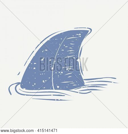 Blue shark fin linocut in cute design