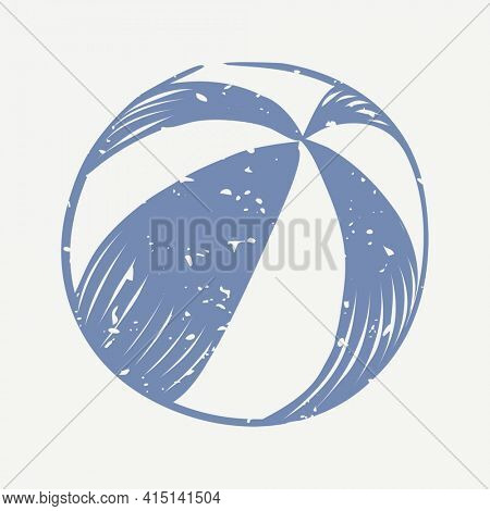 Muted blue ball linocut in cute illustration