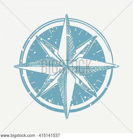 Blue compass linocut in cute illustration