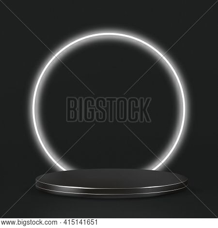 3D Black product display podium with white neon ring
