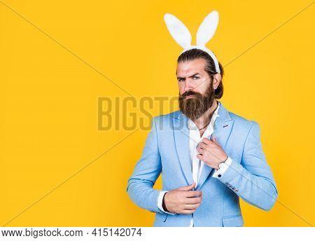 Easter Vibes. Preparation For Easter. Concept Of Egg Hunt. Easter Celebration Concept. Man In Bunny