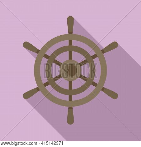 Steering Ship Wheel Icon. Flat Illustration Of Steering Ship Wheel Vector Icon For Web Design