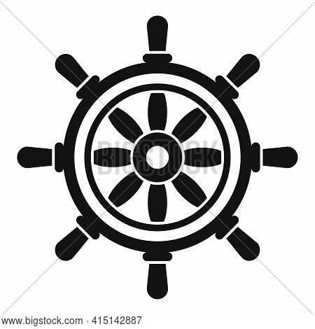 Vessel Ship Wheel Icon. Simple Illustration Of Vessel Ship Wheel Vector Icon For Web Design Isolated