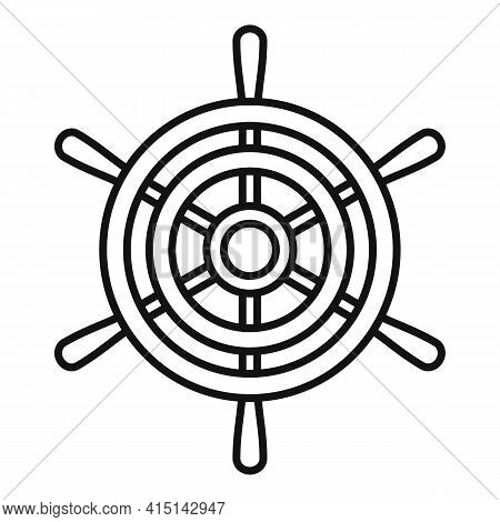 Steering Ship Wheel Icon. Outline Steering Ship Wheel Vector Icon For Web Design Isolated On White B