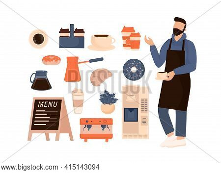 Flat Character Coffee Shop Barista. Vector Illustration Flat Design. Vector Infographic Illustration