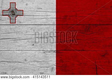 Flag Of Malta. Wooden Texture Of The Flag Of Malta.