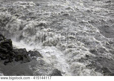 Iceland - August 30, 2017: Dettifoss The Most Powerful Waterfall In Iceland And In The Whole Europe,