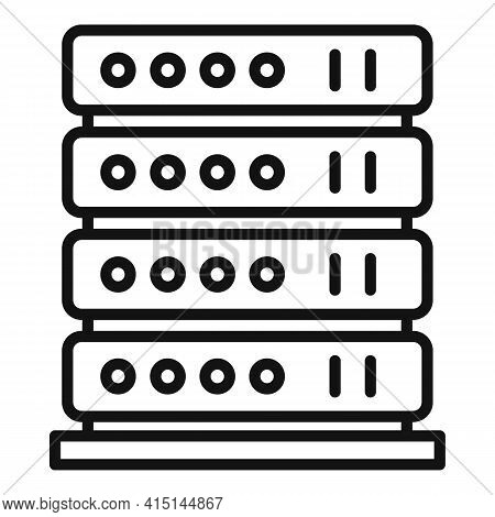 Server Rack Icon. Outline Server Rack Vector Icon For Web Design Isolated On White Background