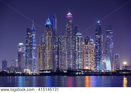 Dubai, Uae - October 28, 2020. Dubai Marina Night Scene With City Lights, Luxury New High Tech Town