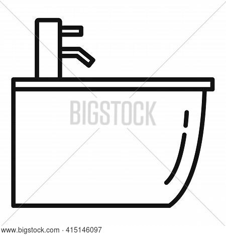 Clean Bidet Icon. Outline Clean Bidet Vector Icon For Web Design Isolated On White Background