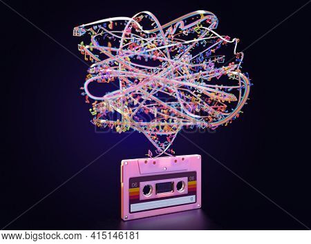 A Concept Showing A Pink Vintage Audio Cassette Tape With An Unravelled Rainbow Color Ribbon And Mus
