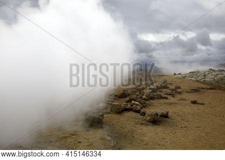 Hverir / Iceland - August 30, 2017: Hverir Fumarole Area Near Namafjall Mountain, Myvatn Lake Area,