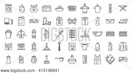 Dry Cleaning Service Icons Set. Outline Set Of Dry Cleaning Service Vector Icons For Web Design Isol