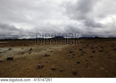 Hverir / Iceland - August 30, 2017: Landscape Near Hverir Fumarole Area, Myvatn Lake Area, Iceland,