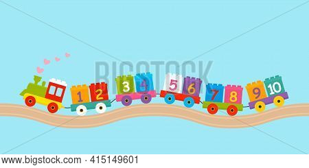 Childrens Constructor Train With Trailers With Numbers From 1 To 10. The Concept Of Preschool Educat
