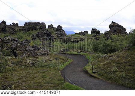 Myvatn / Iceland - August 30, 2017: Volcanic Rocks Formation At Dimmuborgir Area And Park, Iceland,