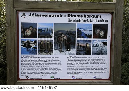 Myvatn / Iceland - August 30, 2017: The Sign About The Legend Creation Of Dimmuborgir Park, Iceland,