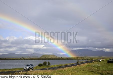 Myvatn / Iceland - August 30, 2017: A Spectacular Rainbow At Lake Myvatn, Iceland, Europe