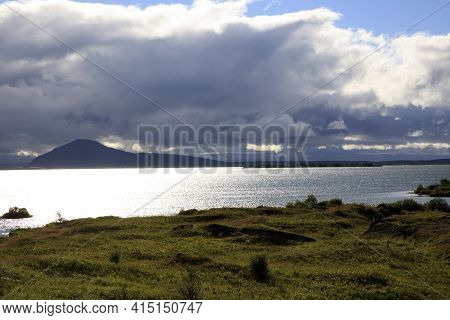 Myvatn / Iceland - August 30, 2017: A View Of Lake Myvatn, Iceland, Europe