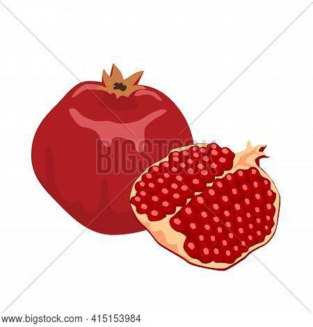 Pomegranate Flat Illustration. Ripe Red Pomegranate Fruit Isolated On White On White Background. Vec