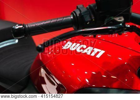 Bangkok, Thailand - 2021 April 01: Close Up Ducati Emblem And Logos At The Motorcycle Body. Selectiv