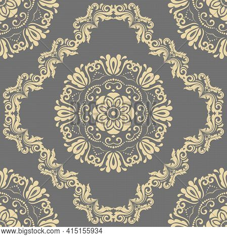Orient Classic Pattern. Seamless Abstract Background With Vintage Elements. Orient Gray And Golden B
