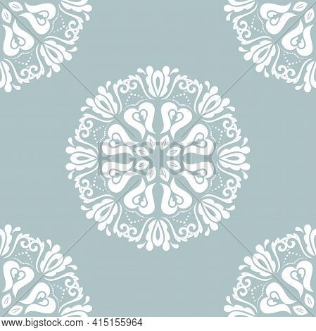 Orient Classic Pattern. Seamless Abstract Blue And White Background With Vintage Elements. Orient Ba