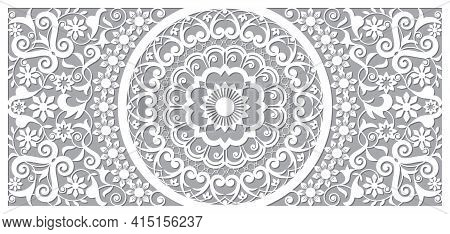 Moroccan Vector Openwork Mandala Design In Recatangle Dl Format, Inspired By The Old Carved Wood Wal
